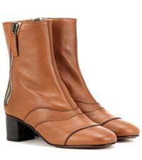 Chloe Lexie Leather Ankle Boots Brown