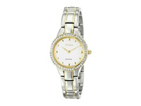 Citizen Ex1364 59A Eco Drive Silhouette Crystal Two Tone Stainless Steel Dress Watches Silver