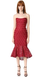 Nicholas Spot Lace Strapless Dress Wine