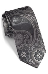 Men's Bugatchi Paisley Silk Tie Charcoal