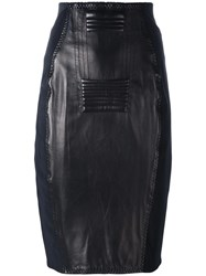 Jean Paul Gaultier Vintage Leather Panelled Skirt Black