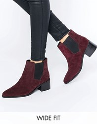Asos Reality Wide Fit Suede Ankle Boots Berry Red