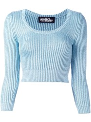 Jeremy Scott Cable Knit Cropped Jumper Blue
