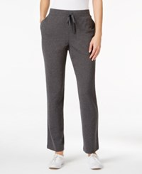 Karen Scott Petite Drawstring Active Pants Only At Macy's Charcoal Heather