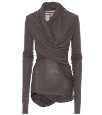 Rick Owens Lilies Draped Knit Top Brown