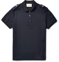 Gucci Slim Fit Bee Appliqued Stretch Cotton Pique Polo Shirt Blue