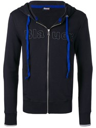 Blauer Embroidered Logo Zip Hoodie Blue