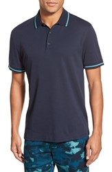 Ag Jeans Men's Ag 'University' Trim Fit Stripe Tipped Jersey Polo Naval Blue