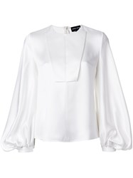 Giorgio Armani Puffy Longsleeves Blouse Women Silk 42 White