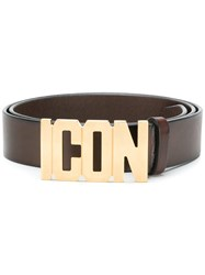 Dsquared2 Icon Logo Buckle Belt Brown