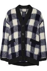 Sea Gingham Chunky Knit Cardigan Blue
