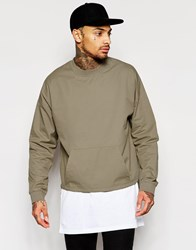 Asos Oversized Cropped Woven Sweatshirt With Toggle Hem In Taupe Beige