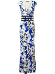 Roberto Cavalli Feather Print Mermaid Dress Blue