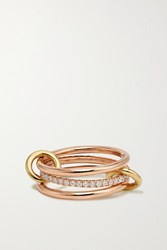 Spinelli Kilcollin Sonny Set Of Three 18 Karat Yellow And Rose Gold Diamond Rings