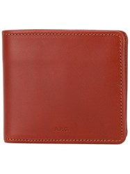 A.P.C. Billfold Wallet Men Leather One Size Red