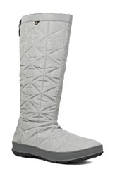 Bogs Snowday Tall Waterproof Quilted Snow Boot Light Grey