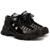 Gucci Rubber Trimmed Leather And Mesh Sneakers Black
