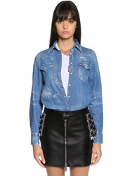 Dsquared Distressed Cotton Denim Western Shirt Blue