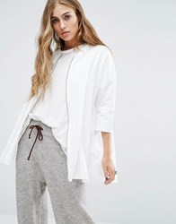 Noisy May Bomber Shirt With Zip Front Detail Bright White