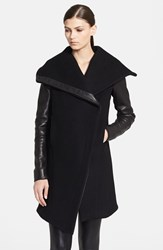 Helmut Lang 'Inclusion Willow' Leather Trim Wool Blend Coat Black