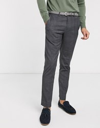 Rudie Grey Check Side Stripe Skinny Fit Trousers