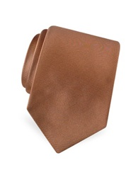 Forzieri Solid Pure Silk Satin Silk Tie Tan