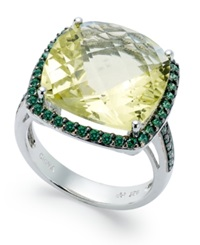 Macy's Sterling Silver Ring Lemon Quartz 9 1 2 Ct. T.W. And Green Swarovski Zirconia 3 4 Ct. T.W. Ring