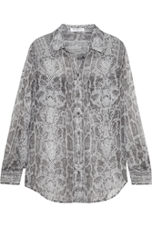 Equipment Slim Signature Snake Print Silk Georgette Shirt