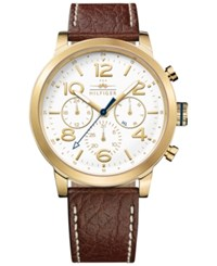 Tommy Hilfiger Men's Casual Sport Brown Leather Strap Watch 46Mm 1791231