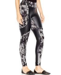 Kensie Printed Faux Leather Panel Contrast Leggings Heather Ash Combo