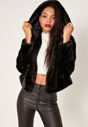 Missguided Black Hooded Short Faux Fur Coat