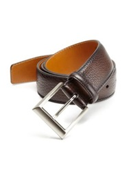 Saks Fifth Avenue By Magnanni Pebbled Leather Belt Brown