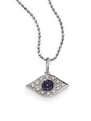Sydney Evan Diamond Sapphire And 14K White Gold Small Evil Eye Pendant Necklace White Gold Sapphire