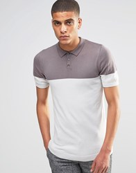 Asos Muscle Fit Knitted Polo In Color Block Flat Gray