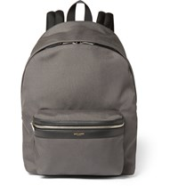 Saint Laurent Leather Trimmed Canvas Backpack Gray