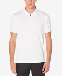 Perry Ellis Men's Zip Closure Dimpled Polo Bright White