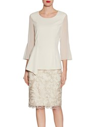Gina Bacconi Embroidered Cord Mesh Skirt Butter Cream