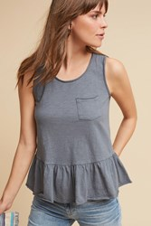 Anthropologie Peplum Pocket Tank Grey