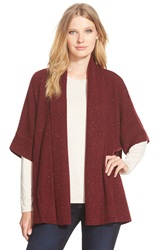Nordstrom Boxy Open Front Cashmere Cardigan Red Tannin Tweed