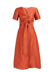 Masscob Regina Tie Waist Linen Blend Dress Orange