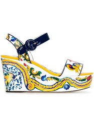 Dolce And Gabbana 'Bianca' Wedge Sandals Multicolour