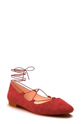 Shoes Of Prey Women's Ghillie Pointy Toe Ballet Flat Dark Red Suede
