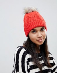 Oasis Cable Knit Beanie With Fur Pomp Om In Orange Mid Oge