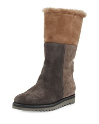 Aquatalia By Marvin K Paulina Fur Lined Patchwork Tall Boot Graphite Combo