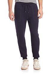 Michael Kors Plaited Waffle Knit Wool And Cotton Pants Dark Blue