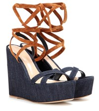 Gianvito Rossi Fabric And Suede Wedge Sandals Blue