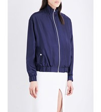 Dion Lee Stand Collar Silk Bomber Jacket Navy