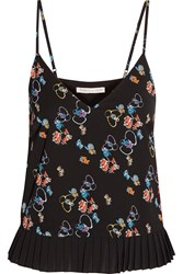 Rebecca Minkoff Parallel Floral Print Crepe De Chine Top Black