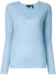 Theory V Neck Jumper Blue