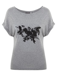 Mint Velvet Grunge Flower Print T Shirt Grey